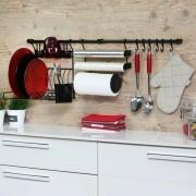 Kit C Linha Requinte Master Cozinha Suspensa Escorredor Porta Rolos Ganchos - Metaltru