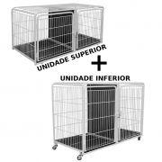 Kit Canil Duplo 2 Lugares Inferior + Canil Duplo 2 Lugares Superior PetShop Veterinária - Açomix