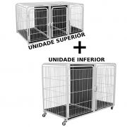 Kit Canil Duplo 2 Lugares Inferior + Canil Triplo 3 Lugares Superior PetShop Veterinária - Açomix