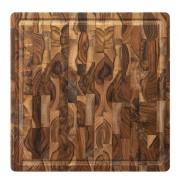 Tábua de Carne Churrasco/Multiuso Madeira Teca Invertida 35,5x35,5 cm - Stolf