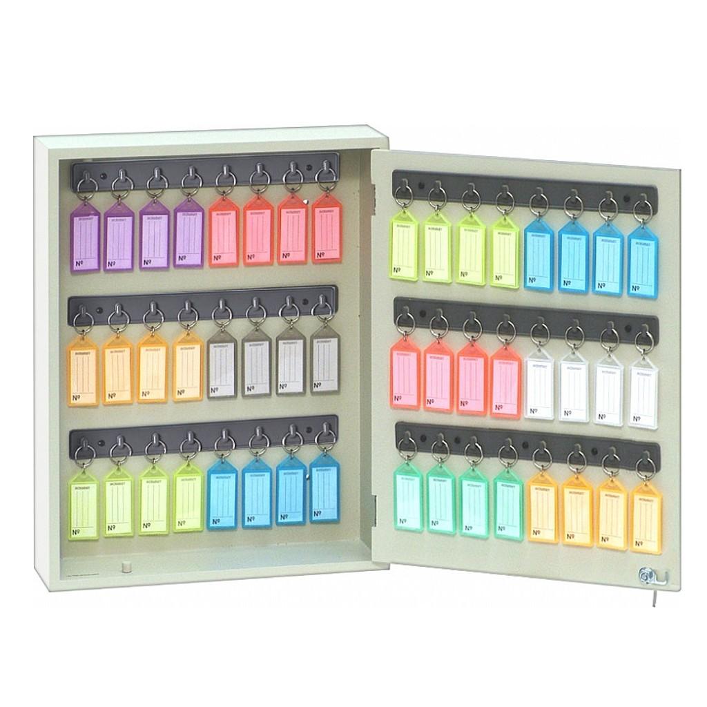 Armário/Claviculário Porta Chaves em MDF p/ 48 Chaves c/ Chaveiros Coloridos - Acrimet