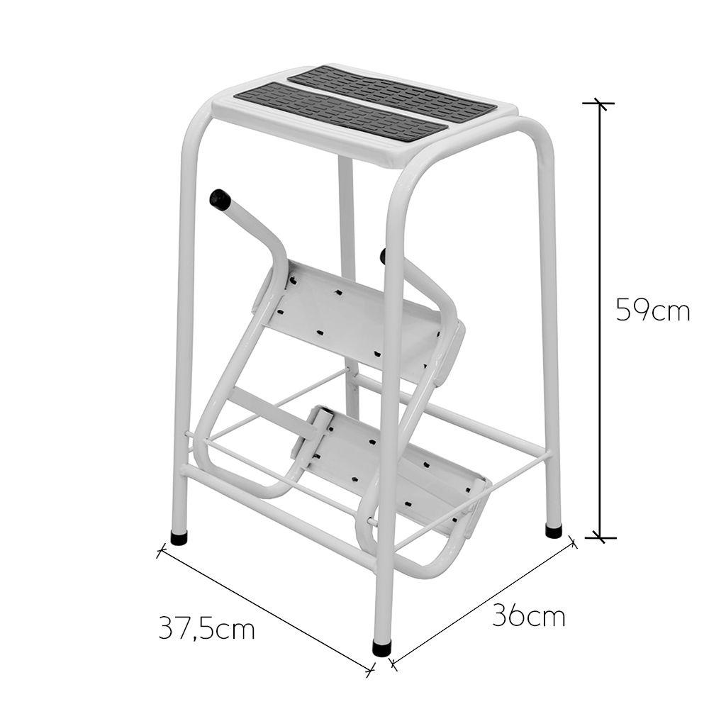Banqueta Escada 3 Degraus Dobrável Suporte Até 100kg em Aço Anti Ferrugem - Açomix