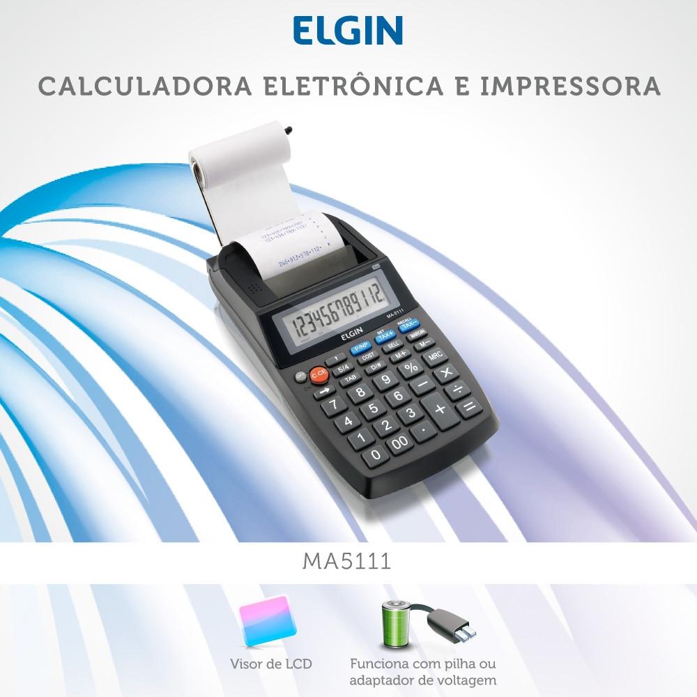 Calculadora Eletrônica de Mesa Elgin MA 5111 12 Dígitos Visor LCD Bobina Velocidade de Impressão 2,7 Linhas/segundo