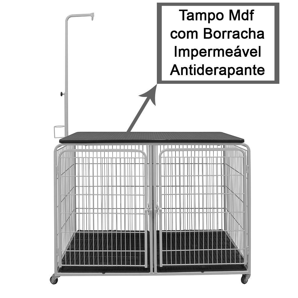 Canil Duplo c/ Mesa de Tosa Tampo MDF Emborrachado p/ Petshop e Clínica Veterinária - Açomix
