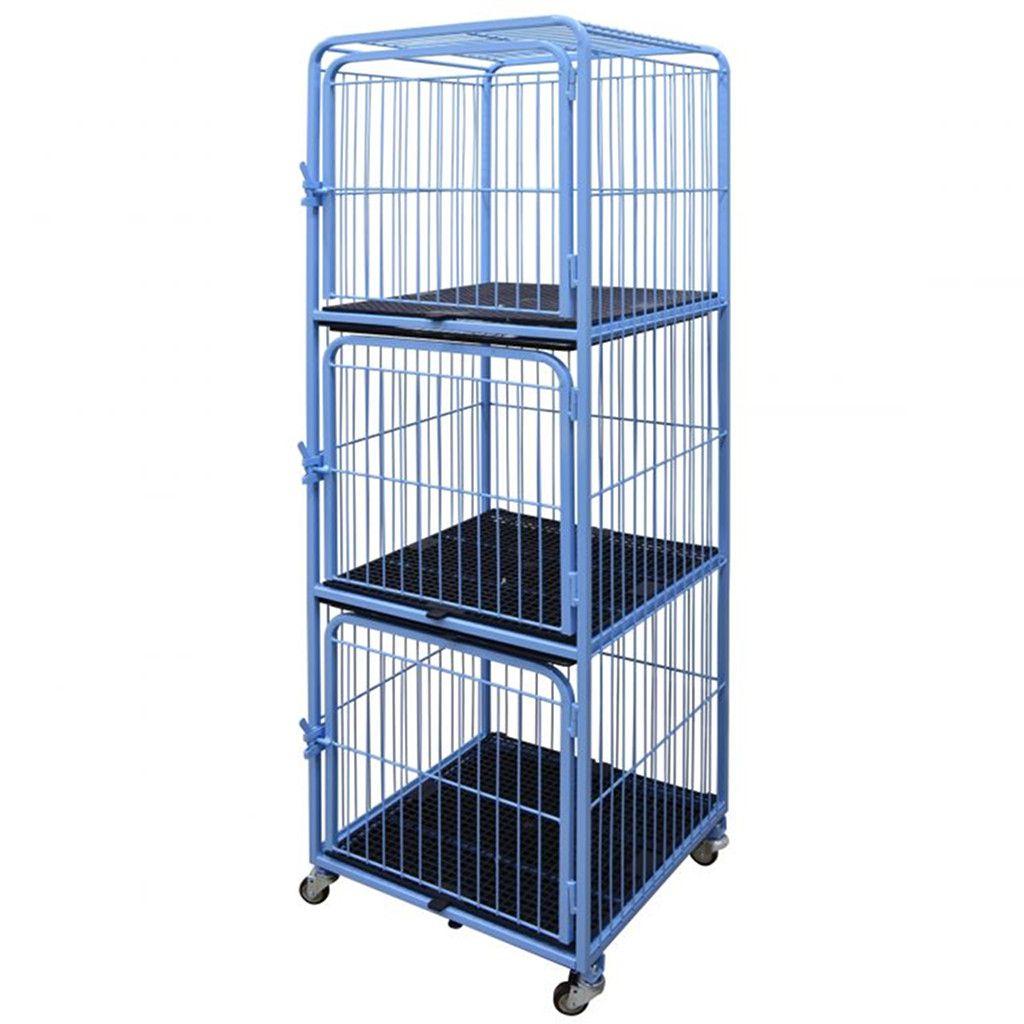 Canil/Gatil 3 Lugares Fixo c/ Rodízios p/ Petshop e Clínica Veterinária - Açomix