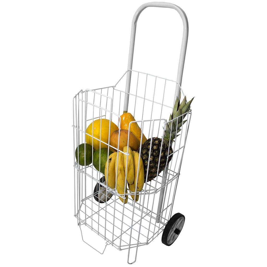 Carrinho de Feira Compras Supermercado Espaçoso Dobrável em Aço - Açomix