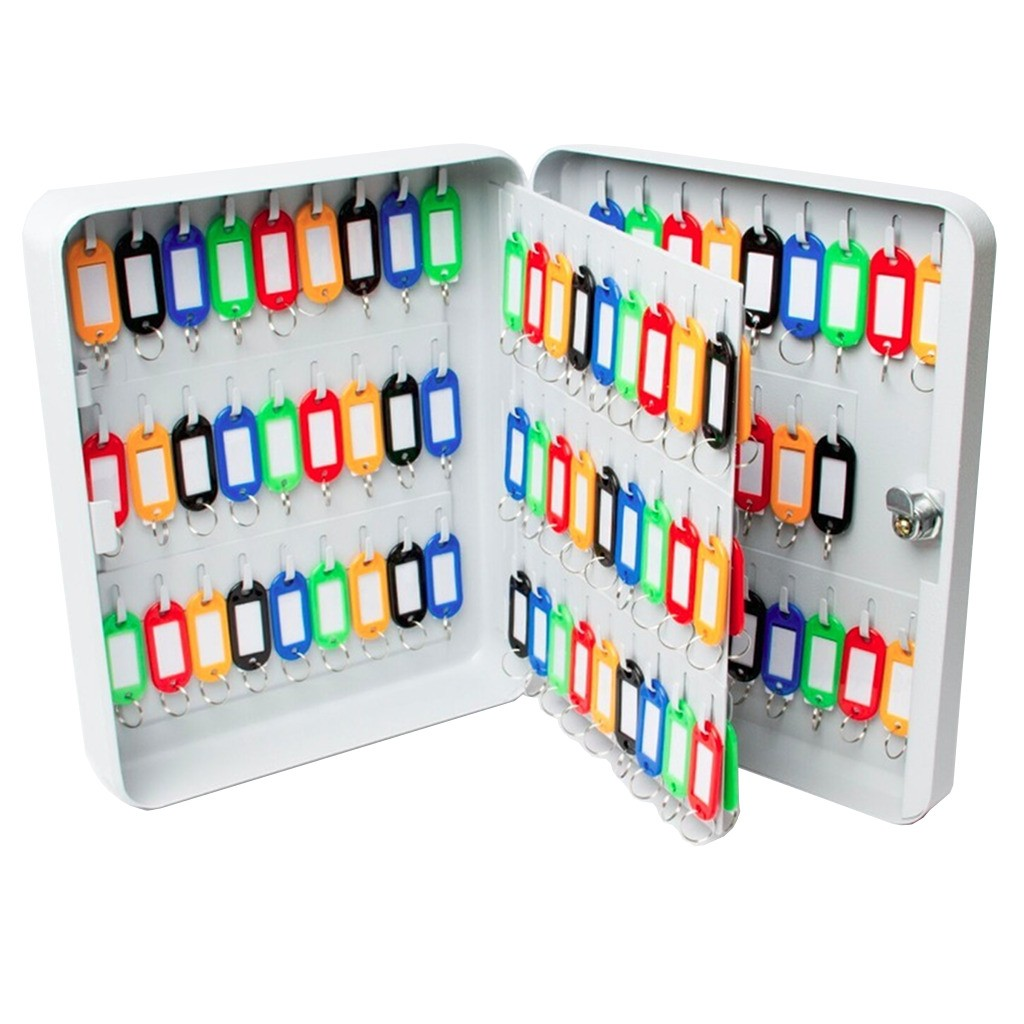 Claviculário Metálico Menno TS105 Porta Chaves p/ 105 Chaves c/ Chaveiros Coloridos