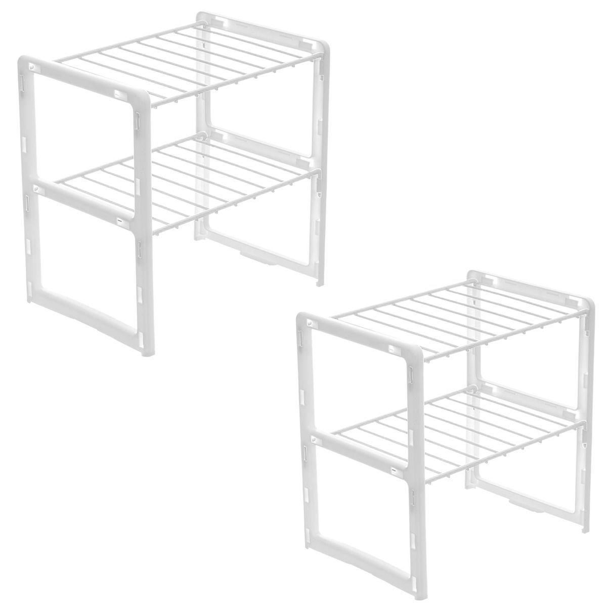 Combo 2 Unidades do Rack Organizador de Objetos / Prateleira Ganha Espaço Dupla Pequena 13157 - Metaltru