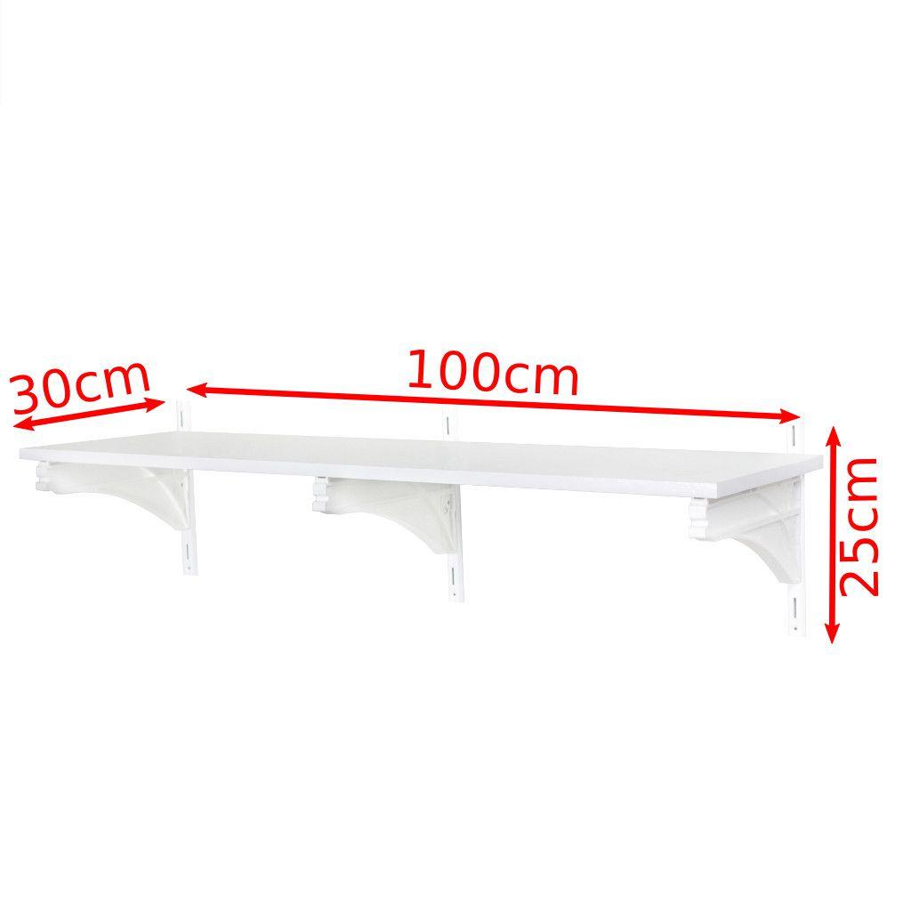 Combo 4 Prateleira de Madeira/MDF G com Trilho 100x25x30 Suporta Até 45kg Por Prateleira - Metaltru