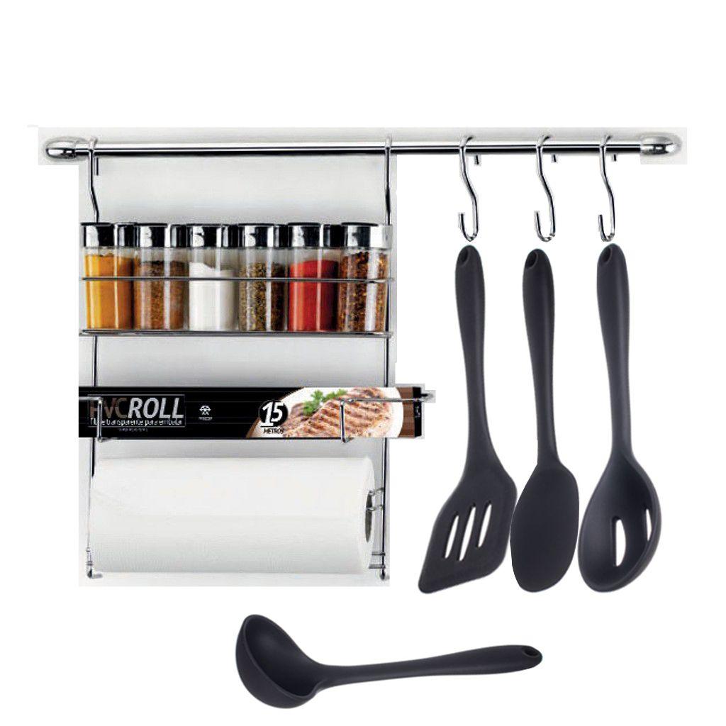 Combo Cook Home 17 + Concha, Colher, Espátula e Colher Perfurada de Silicone