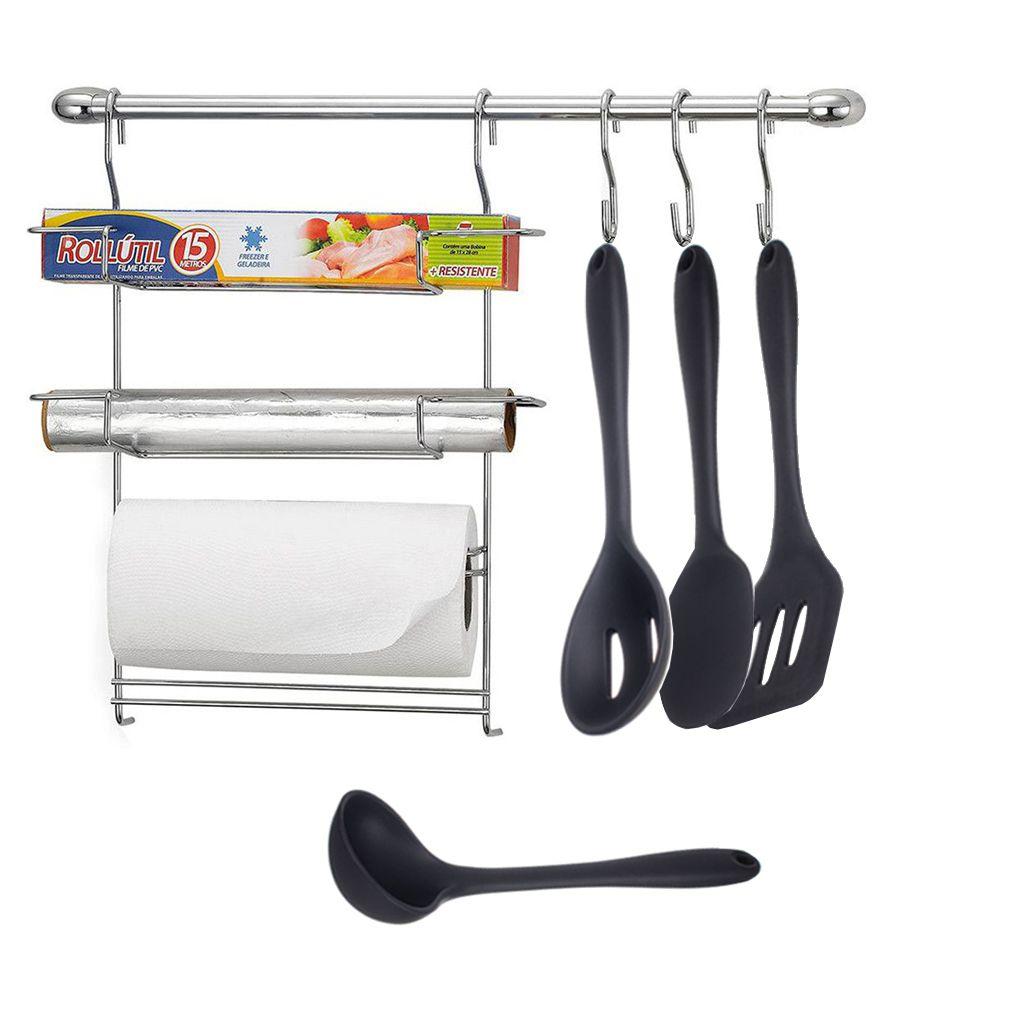 Combo Cook Home 6 + Concha, Colher, Espátula e Colher Perfurada de Silicone
