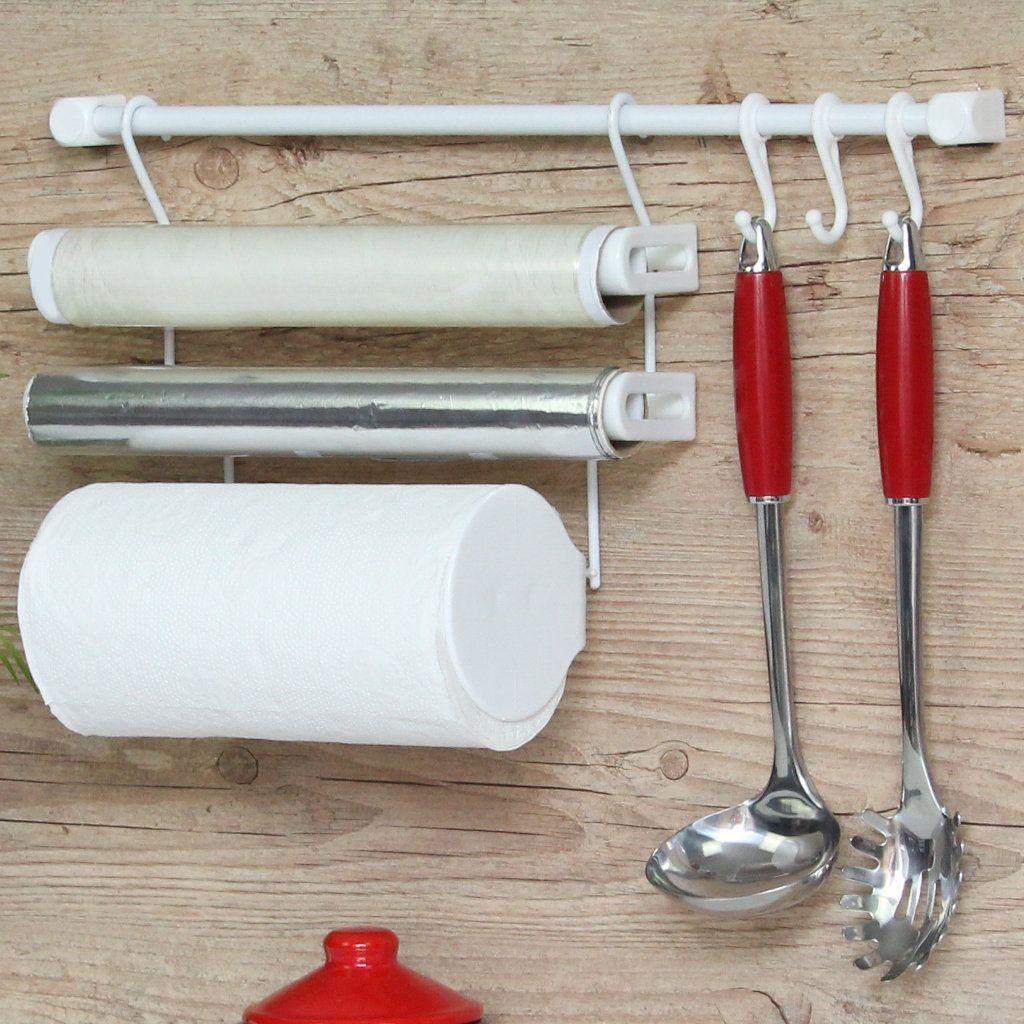 Combo Kit B + Kit A Requinte Master Escorredor Dobrável Porta Rolos Ganchos p/ Utensílios Preto - Metaltru