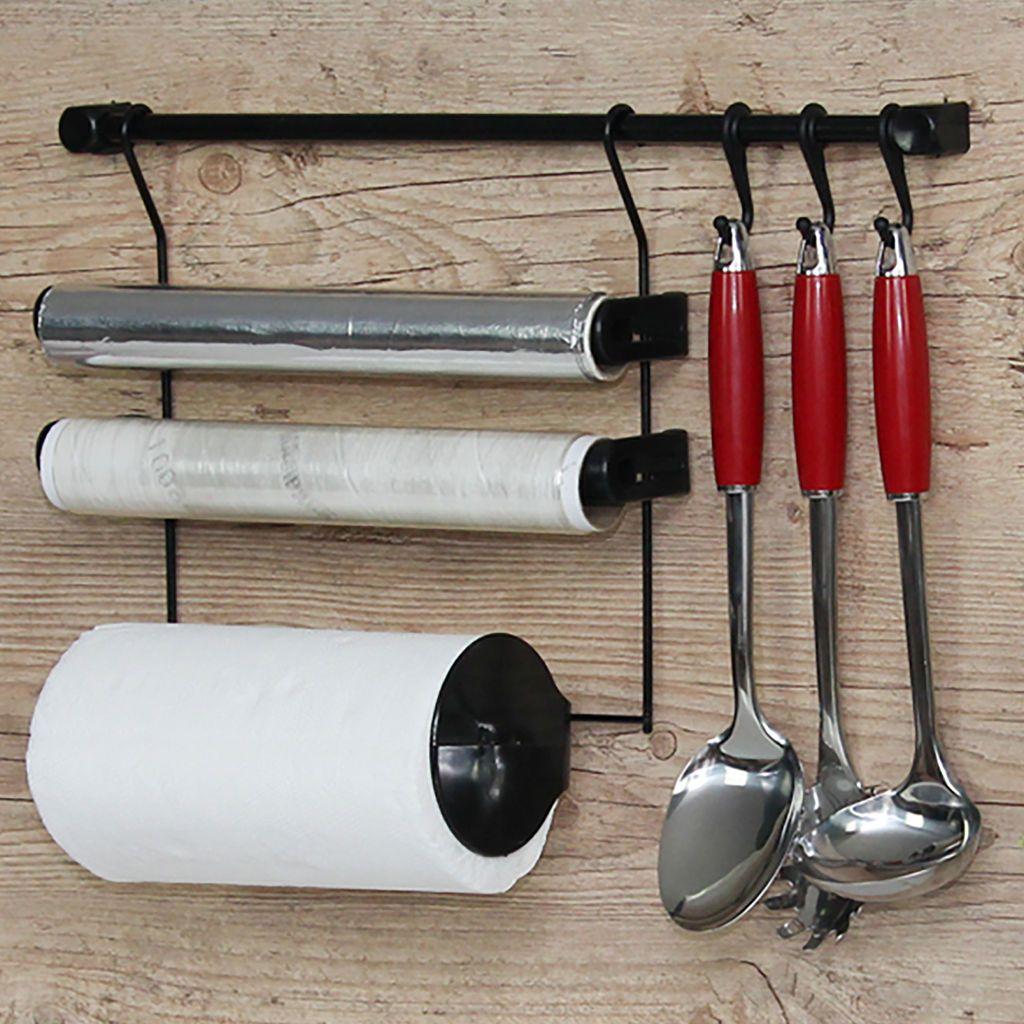 Combo Kit B + Kit A Requinte Master Escorredor Dobrável Porta Rolos Ganchos p/ Utensílios - Metaltru