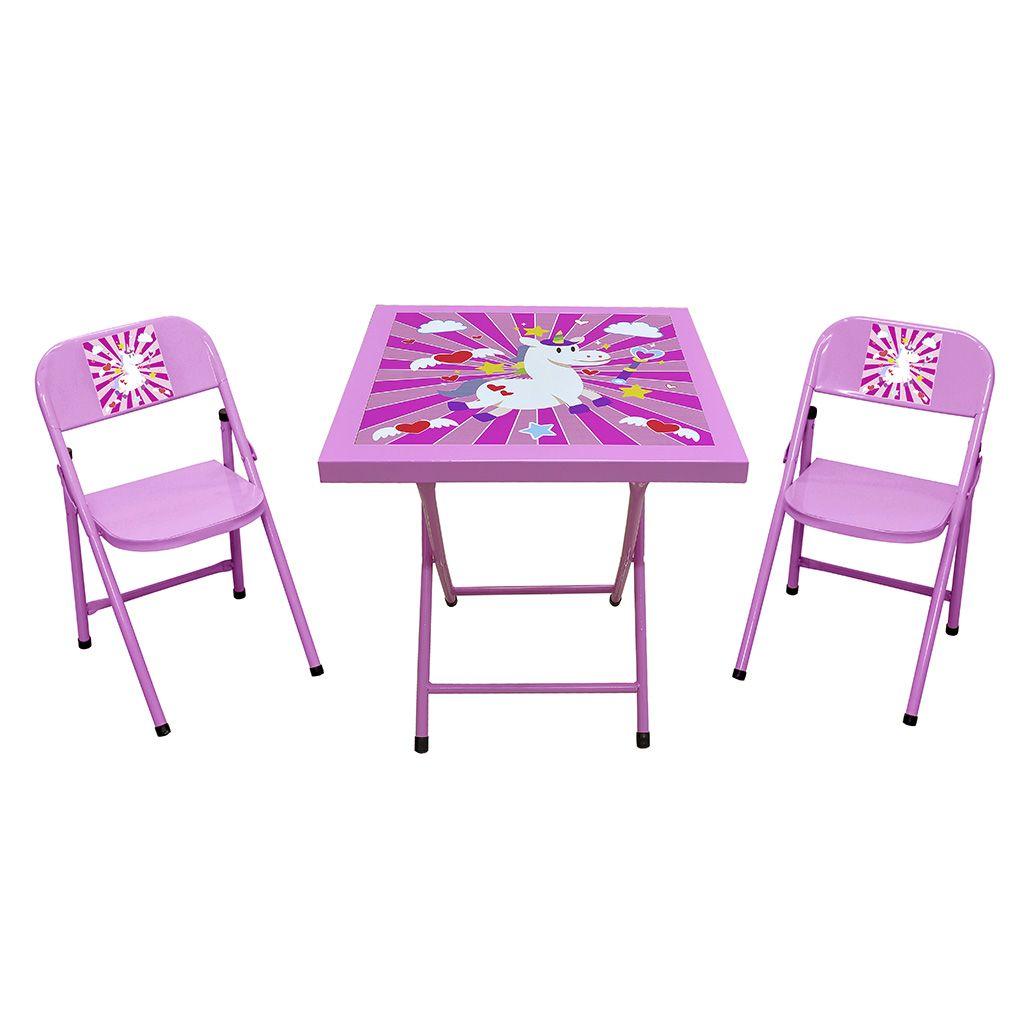 Conjunto/Jogo de Mesa Aço Infantil Estampado Dobrável 2 Cadeiras - Açomix