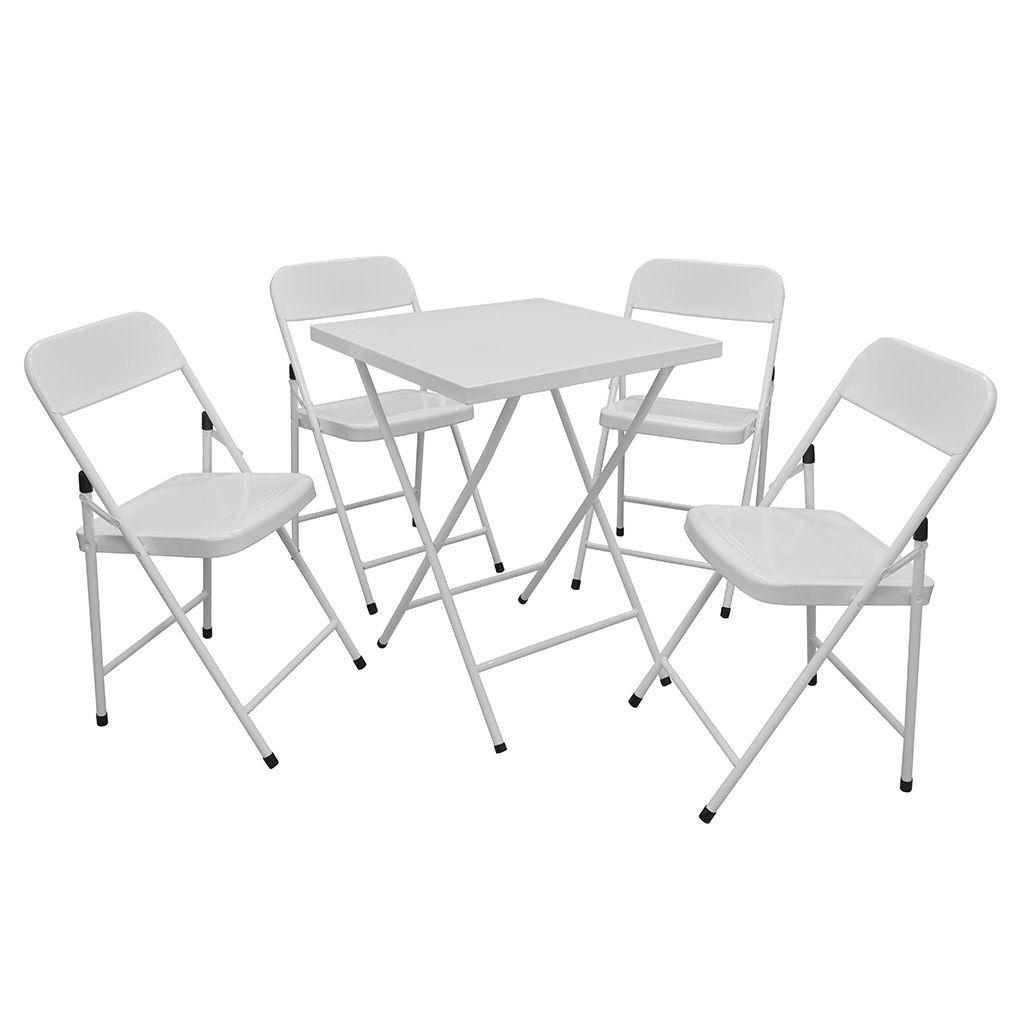 Conjunto/Jogo Mesa de Bar/Restaurante Dobrável Aço 58 x 58 cm c/ 4 Cadeiras - Açomix