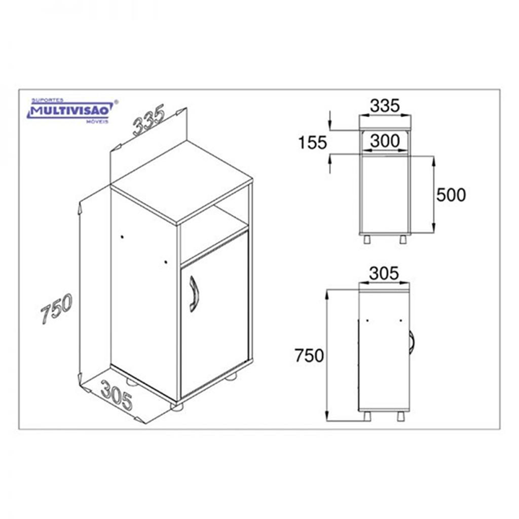 Gabinete p/ Fitro de Água ou Balcão Multiuso AS610 MDF - Multivisão