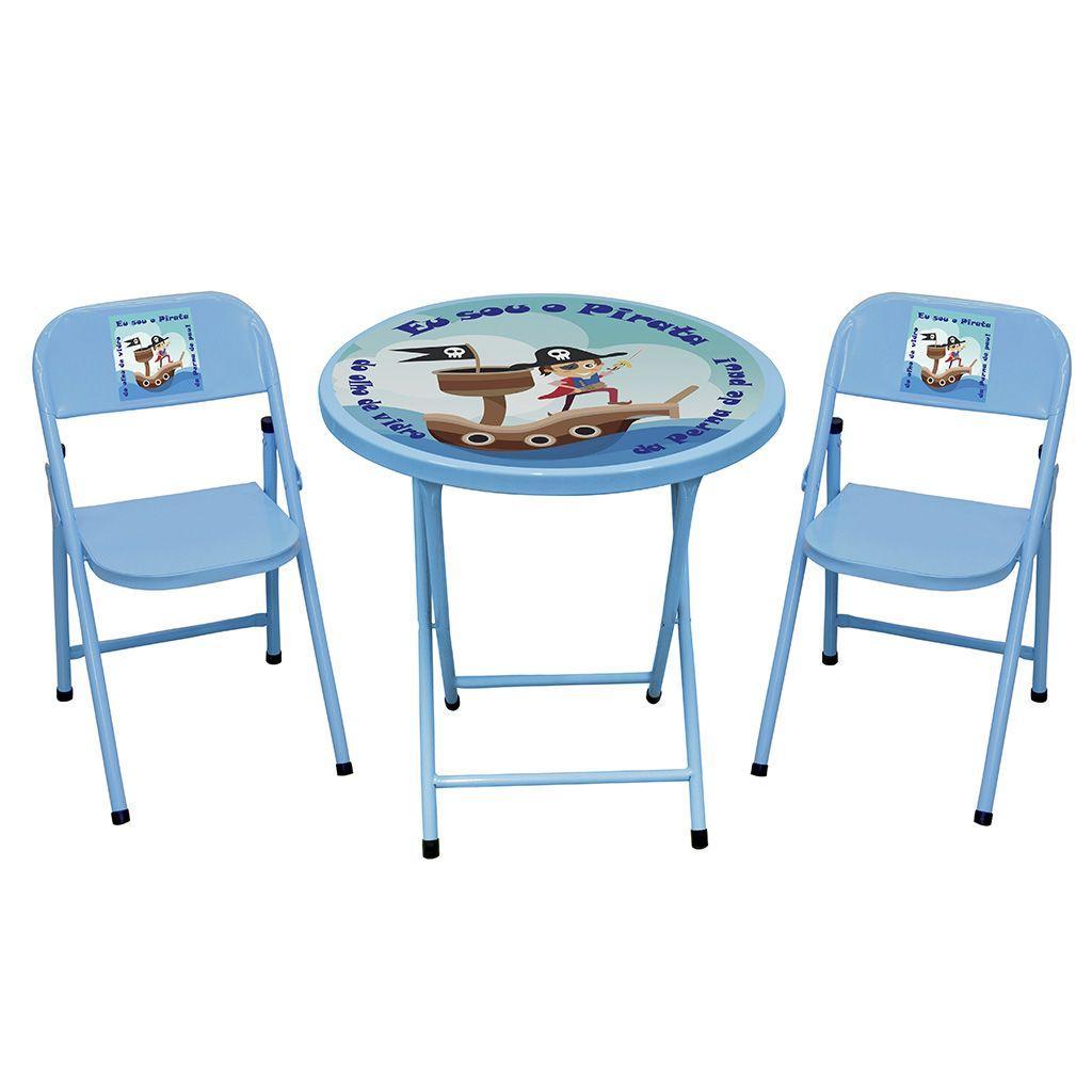 Jogo Conjunto de Mesa Infantil Redondo Aço Dobrável Estampado 2 Cadeiras - Açomix
