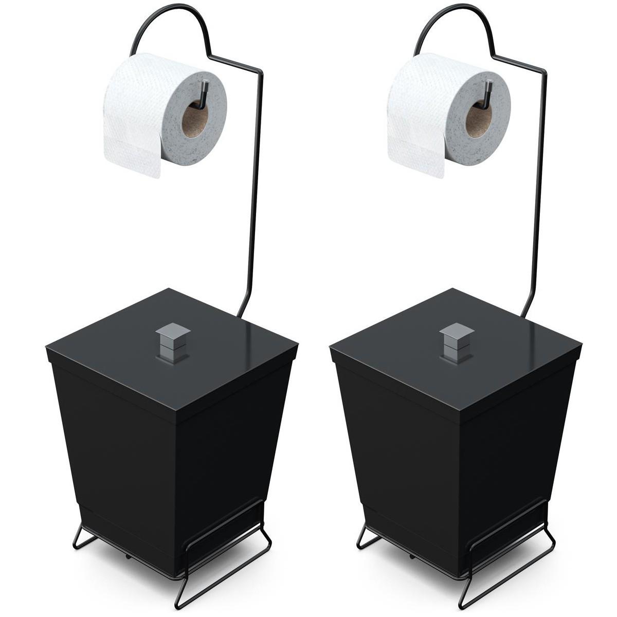 Kit 2 Lixeiras de Banheiro com Suporte p/ Papel Higiênico Black - Stolf
