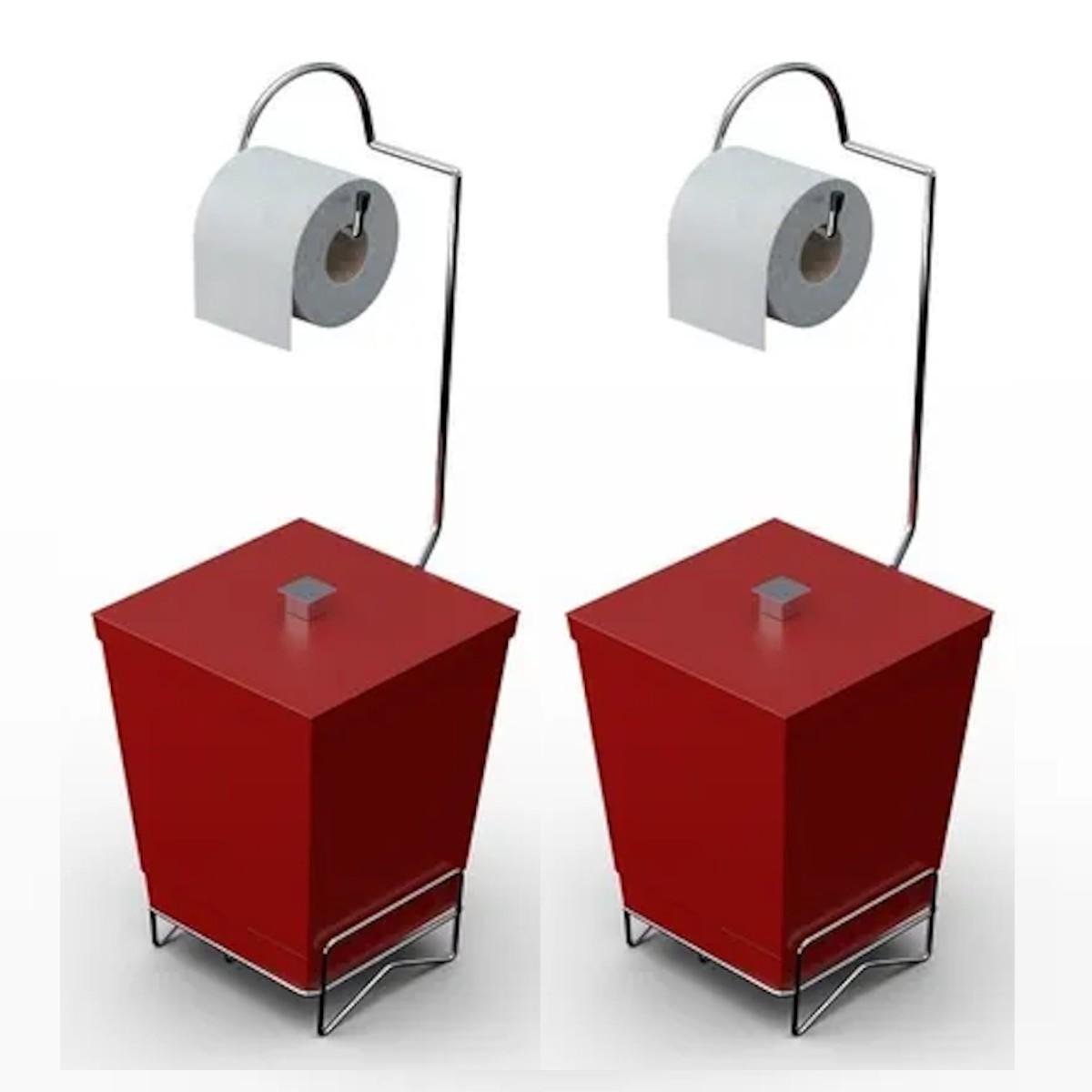 Kit 2 Lixeiras de Banheiro com Suporte p/ Papel Higiênico - Stolf