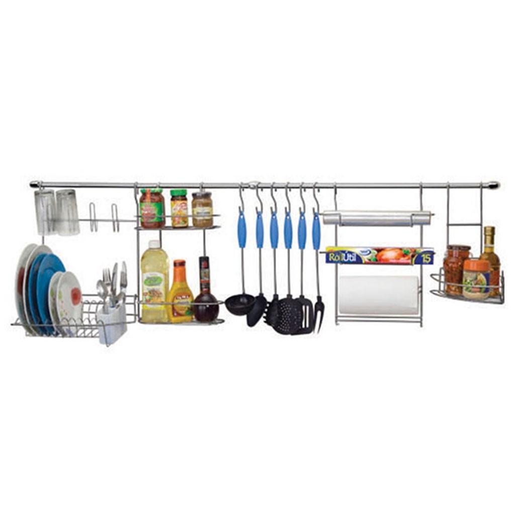 Cook Home 1 Barra Suspensa em Aço Suporte p/ Escorredor Porta Rolo/Tempero Ganchos - Arthi