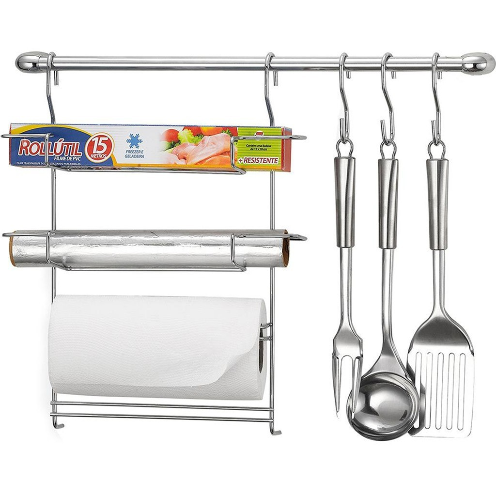 Cook Home 6 Barra Suspensa em Aço Suporte p/ Porta Rolos Ganchos - Arthi