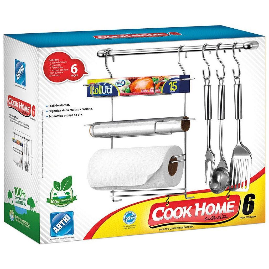 Kit de Cozinha Suspensa Cook Home 6 Aço Cromado 6 Peças Porta Rolos Ganchos p/ Utensílios - Arthi