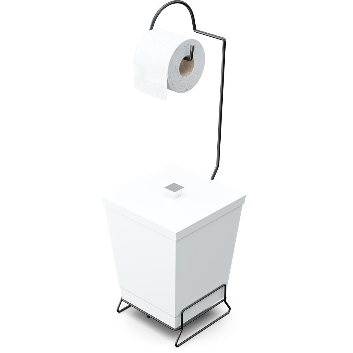 Lixeira de Banheiro com Suporte p/ Papel Higiênico Black - Stolf