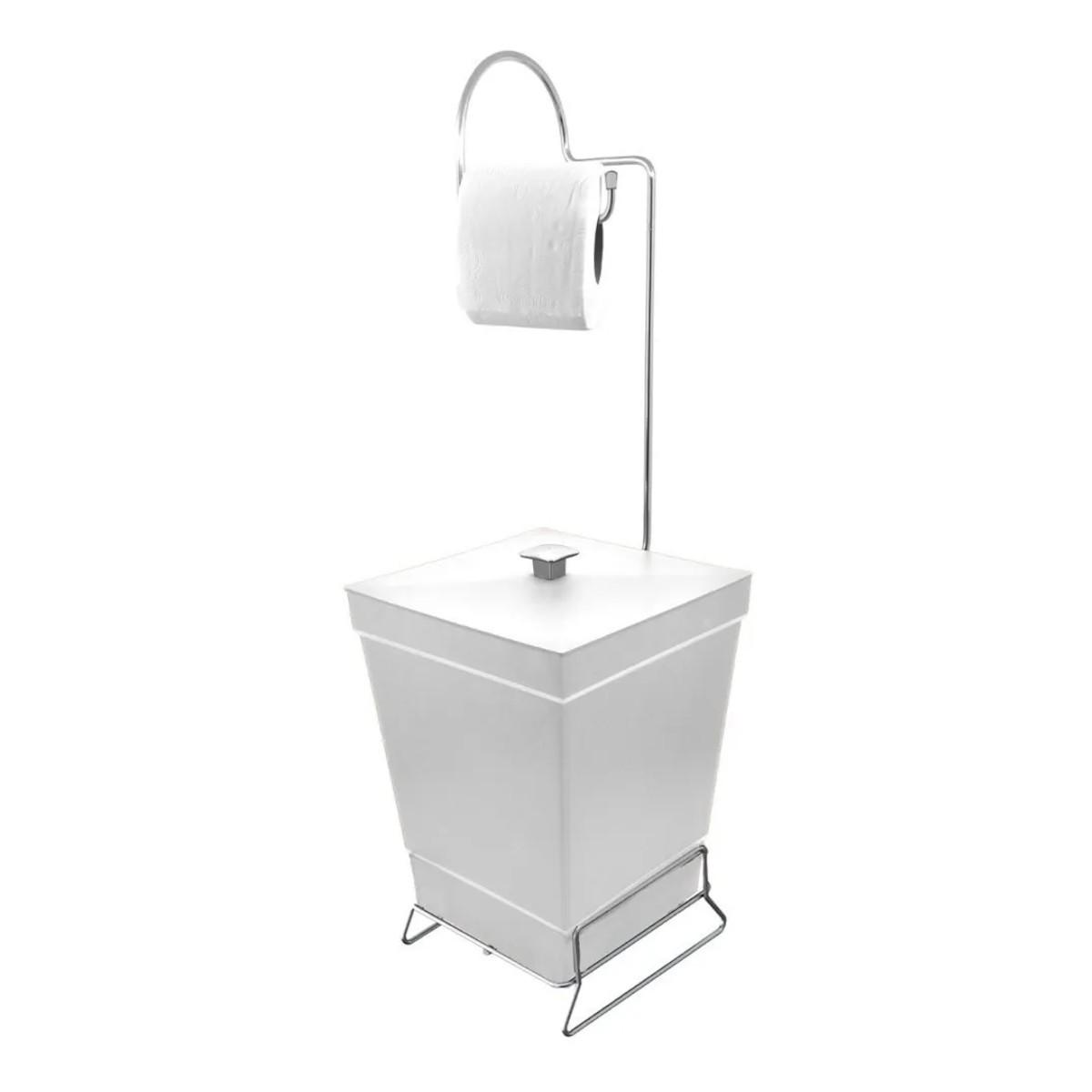 Lixeira de Banheiro com Suporte p/ Papel Higiênico - Stolf