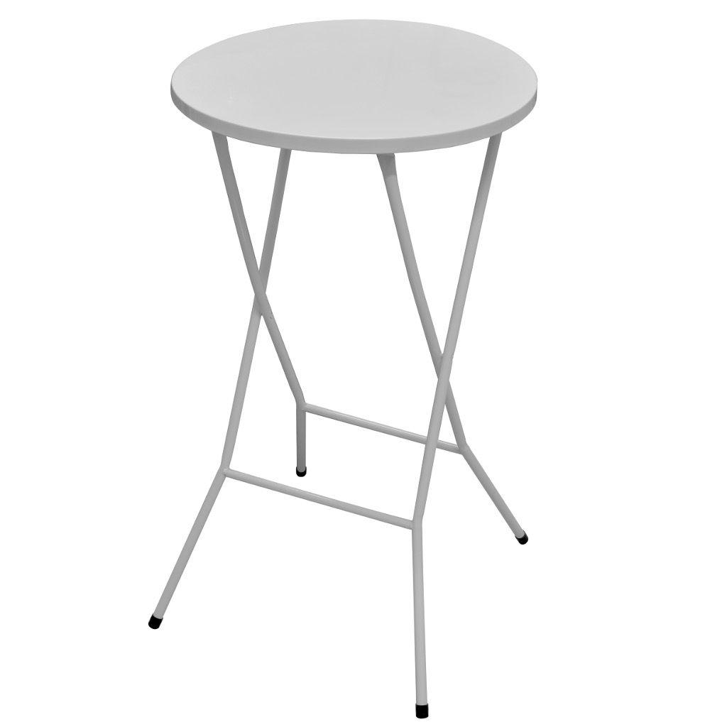 Mesa Bistrô Alta Dobrável de Aço p/ Bar Cozinha c/ Tampo de 60cm Altura 105,5cm Branca - Açomix