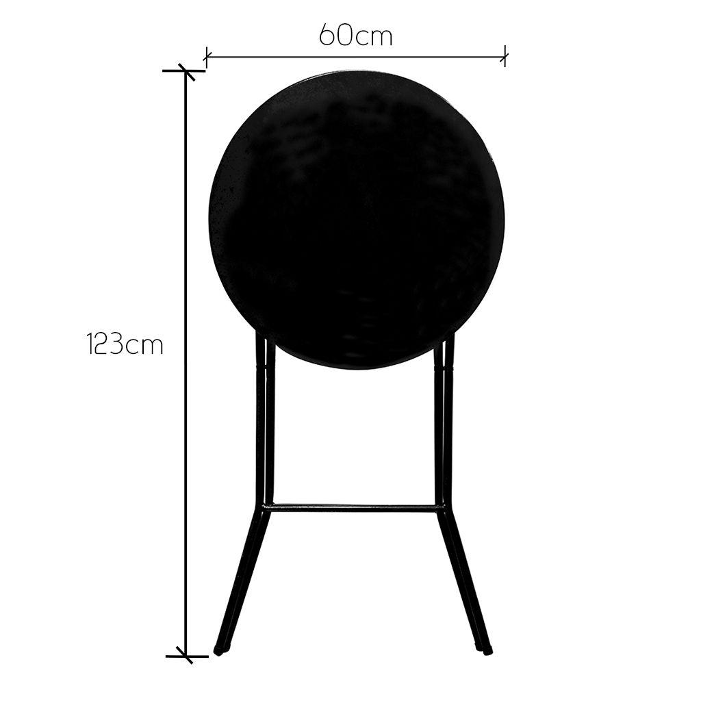 Mesa Bistrô Alta Dobrável de Aço p/ Bar Cozinha c/ Tampo de 60cm Altura 105,5cm Preto Craqueado - Açomix