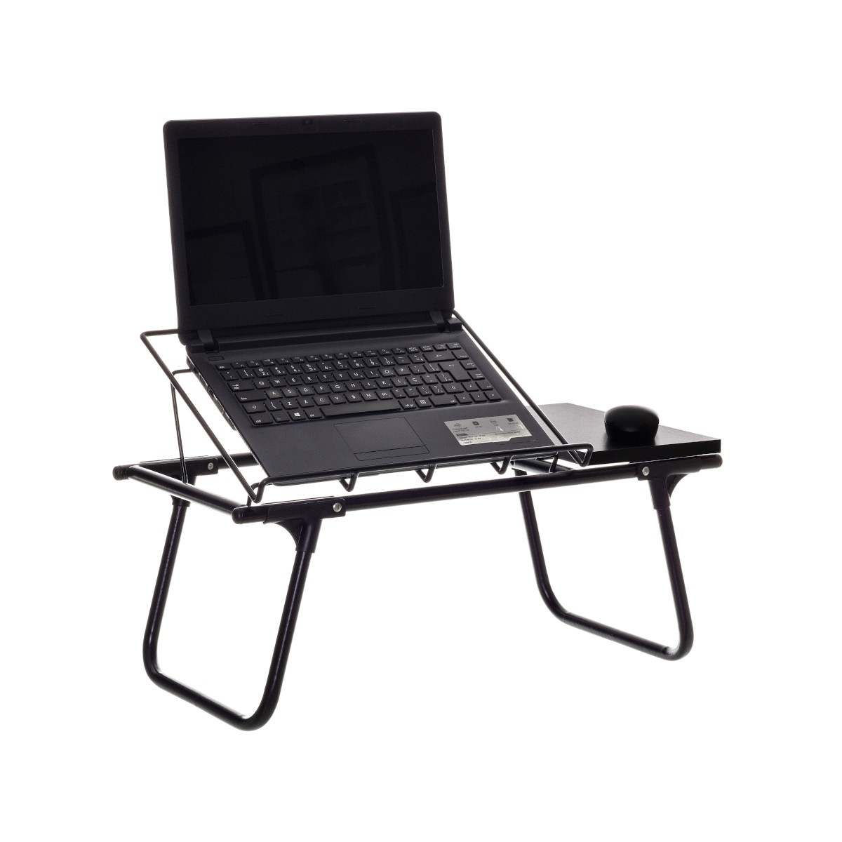 Mesa de Colo Dobrável para Notebook Aramado c/ Suporte p/ Mouse em Madeira - Metaltru