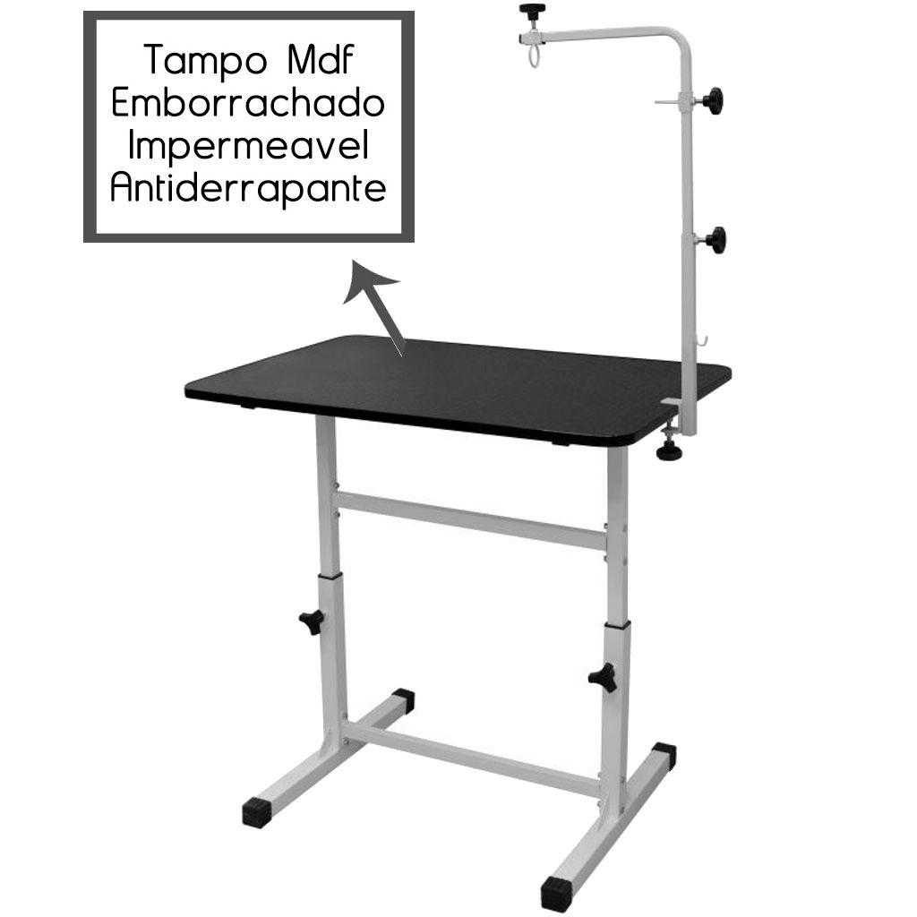 Mesa de Tosa Pet Shop c/ Regulagem de Altura Tampo MDF Antiderrapante c/ Girafa e Suporte p/ Maquina - Açomix