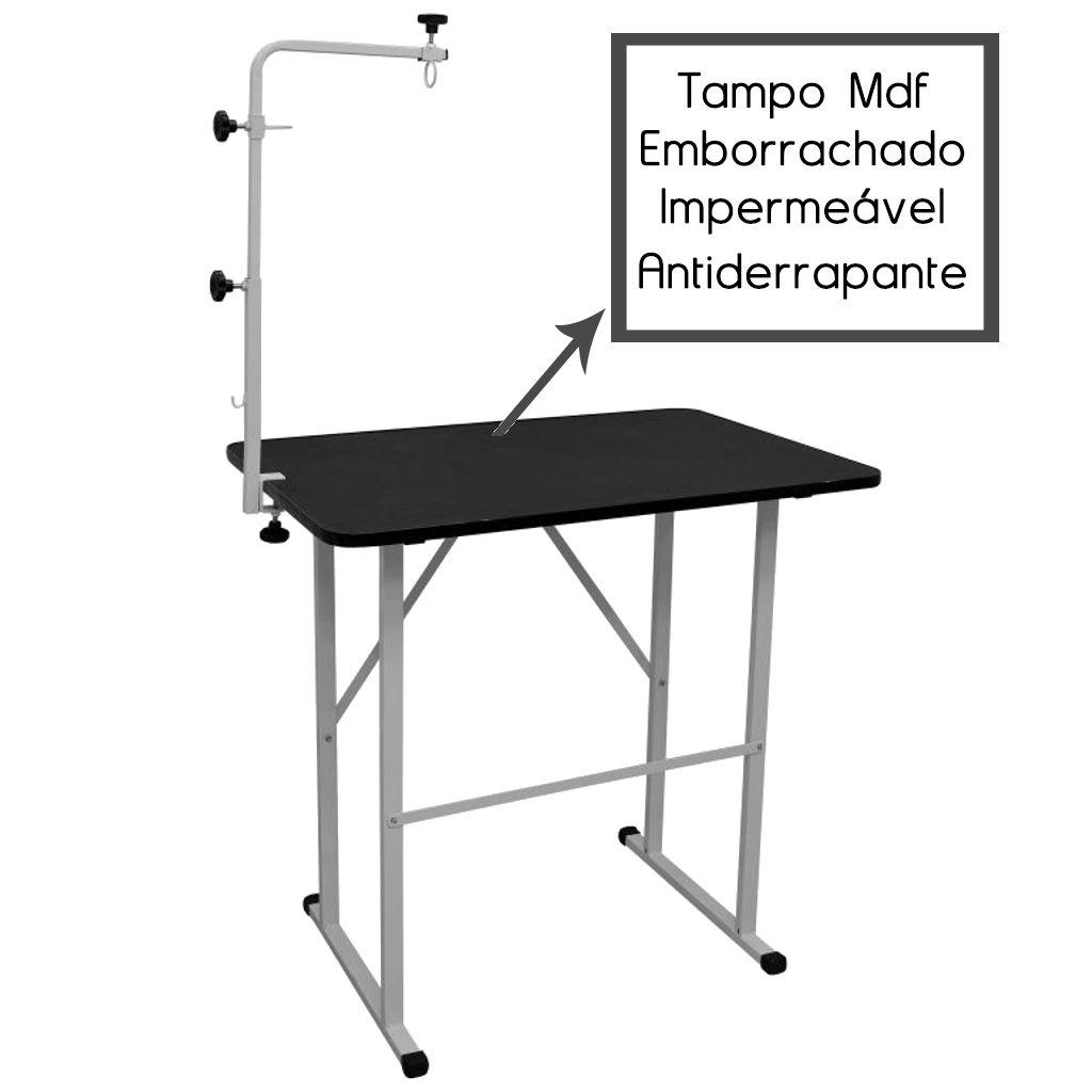 Mesa de Tosa Pet Tampo MDF Antiderrapante c/ Girafa e Suporte p/ Maquina - Açomix