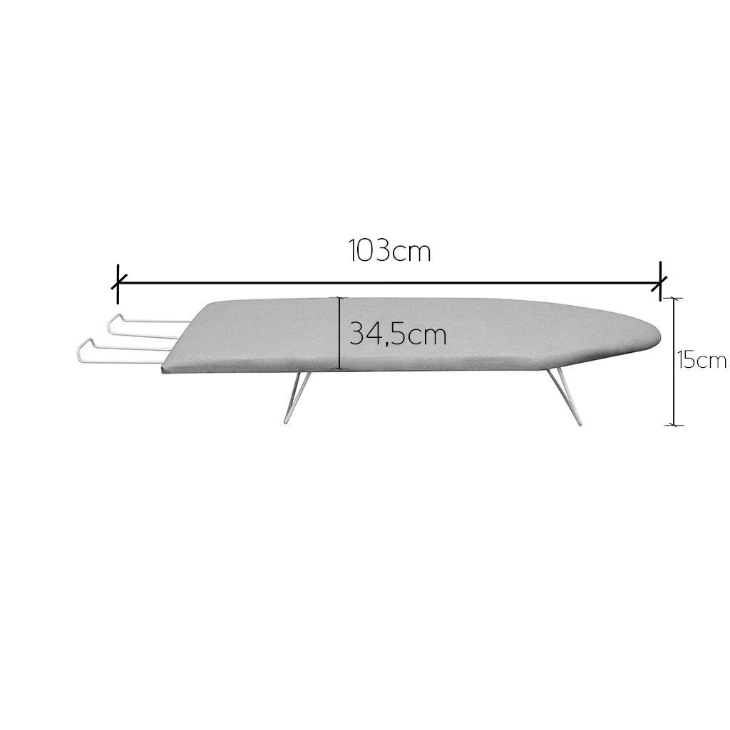 Mesa/Tábua de Passar Roupa Portátil 34cm Largura c/ Suporte p/ Ferro - Açomix