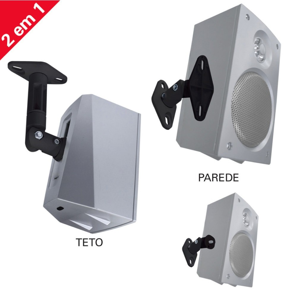 Par de Suporte de Teto/Parede p/ Caixas Acústicas/Som de Home Theater SPHT41 - Multivisão
