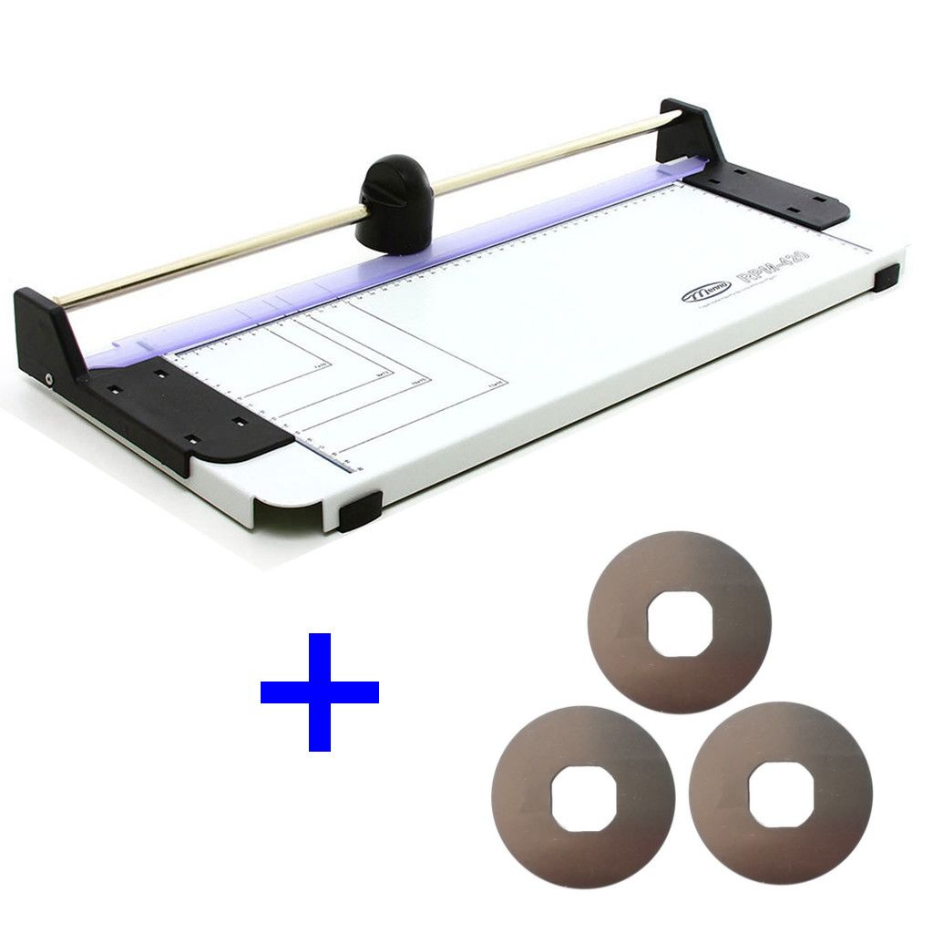 Refiladora de Papel Guilhotina A3 Menno 420 Corte 450mm Corta Até 4 Folhas Simultâneas + Kit 3 Navalhas - Menno