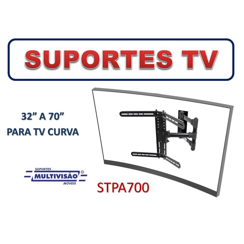 """Suporte Articulado com Inclinação para TV Plana ou Curva de 32"""" a 70"""" Multivisão STPA700"""