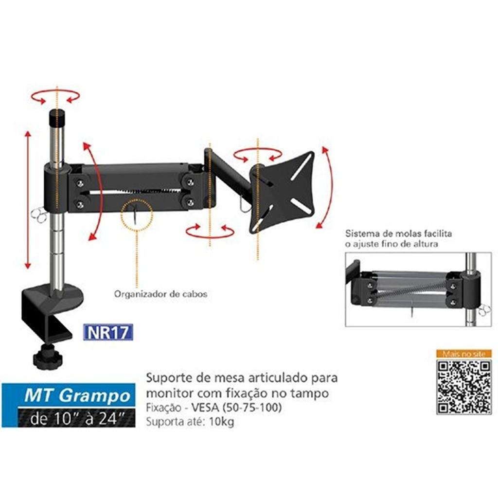 """Suporte de Mesa Ergonômico NR17 p/ Monitor LED/LCD/3D de 10"""" a 24"""" Articulado MT-GRAMPO - Multivisão"""