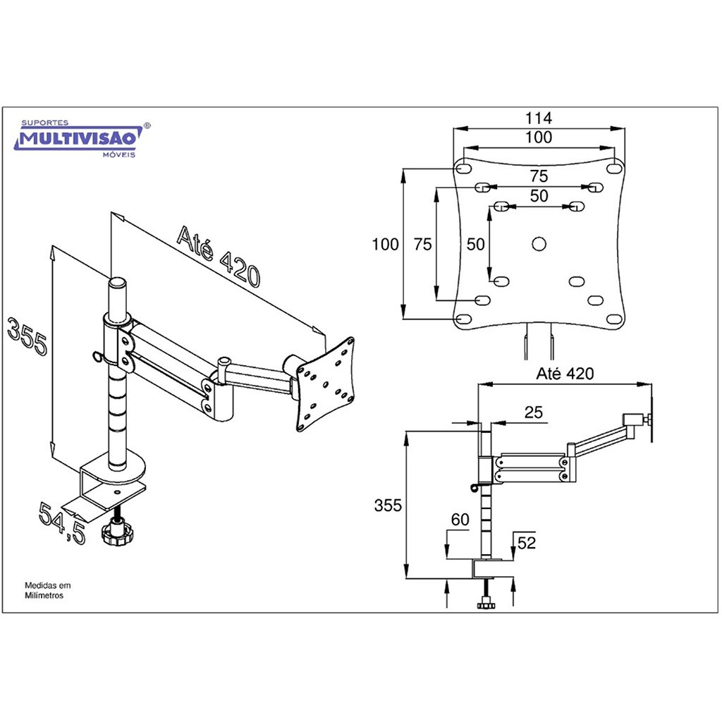 Suporte de Mesa Ergonômico NR17 p/ Monitor LED/LCD/3D de 10