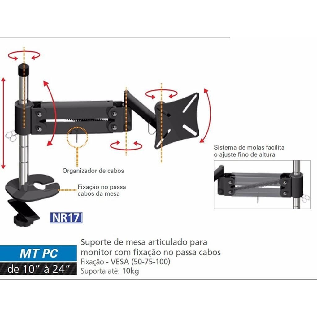 """Suporte de Mesa Ergonômico NR17 p/ Monitor LED/LCD/3D de 10"""" a 24"""" Articulado MT-PC - Multivisão"""