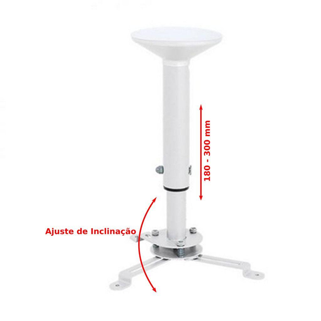 Suporte de Teto para Projetor Universal Giro 360º Iclinação Até 15º 18 - 30 cm MULTI-PROJ-P - Multivisao