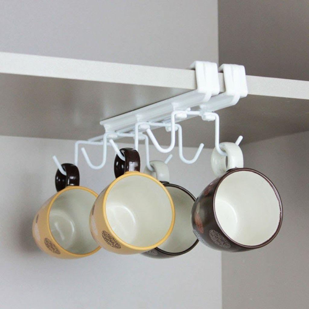 Suporte Organizador Gancho Suspenso Para Pendurar Xícaras Branco - Metaltru