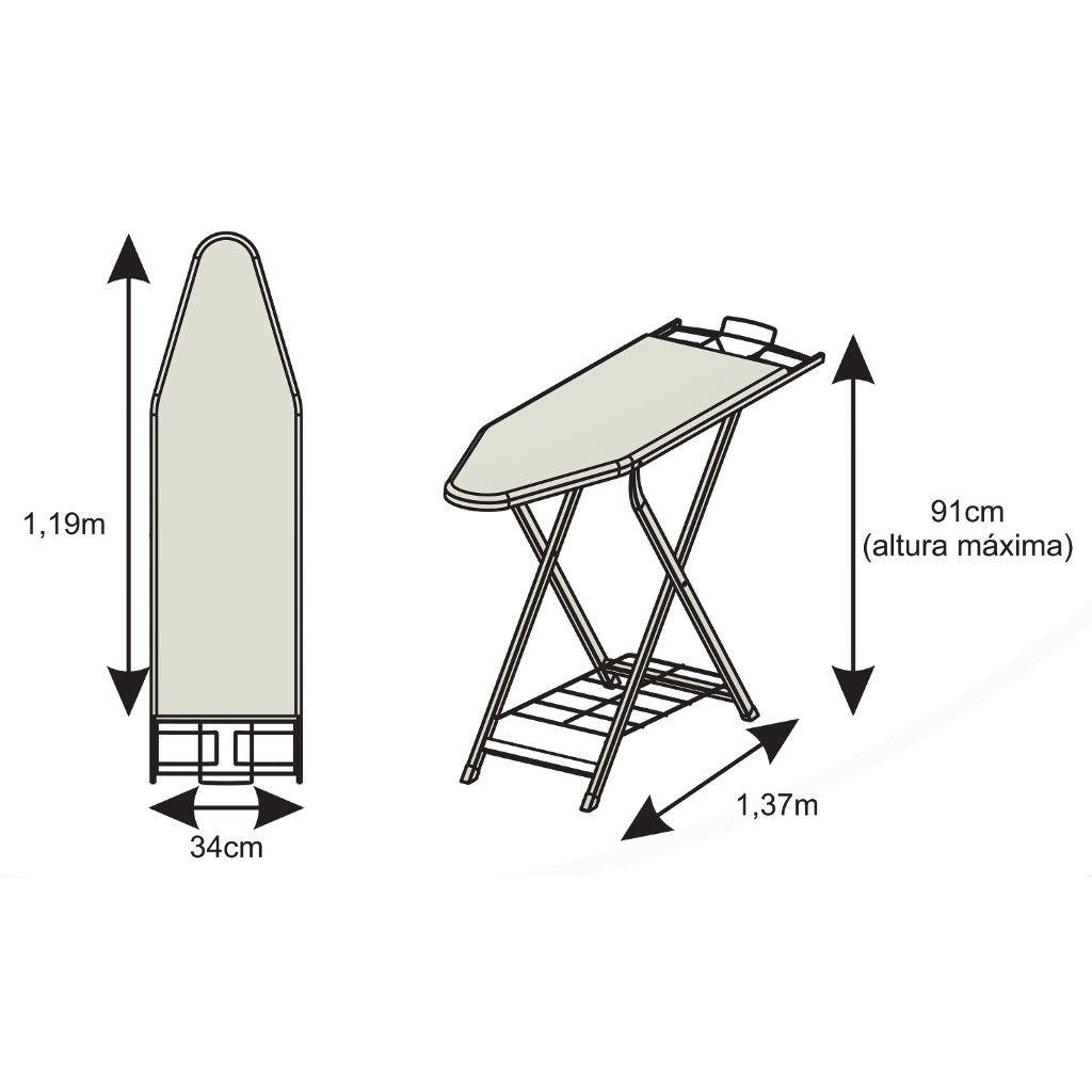 Tábua/Mesa de Passar Roupas Fast em Aço 34cm Largura Suporte p/ Ferro + Ajuste Altura - Elite Aço