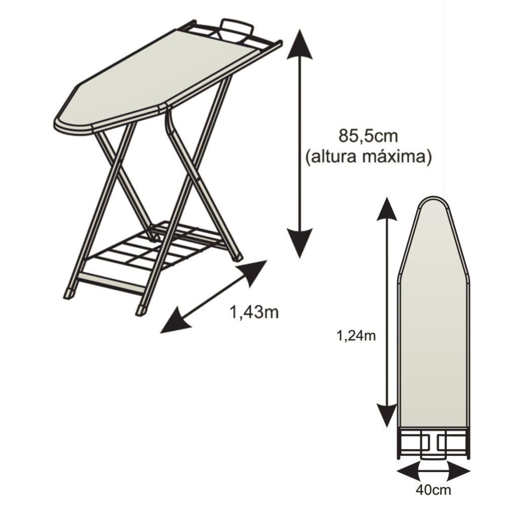 Tábua/Mesa de Passar Roupas Hard em Aço 40cm Largura Suporta até 15kg Suporte p/ Ferro Regulagem de Altura