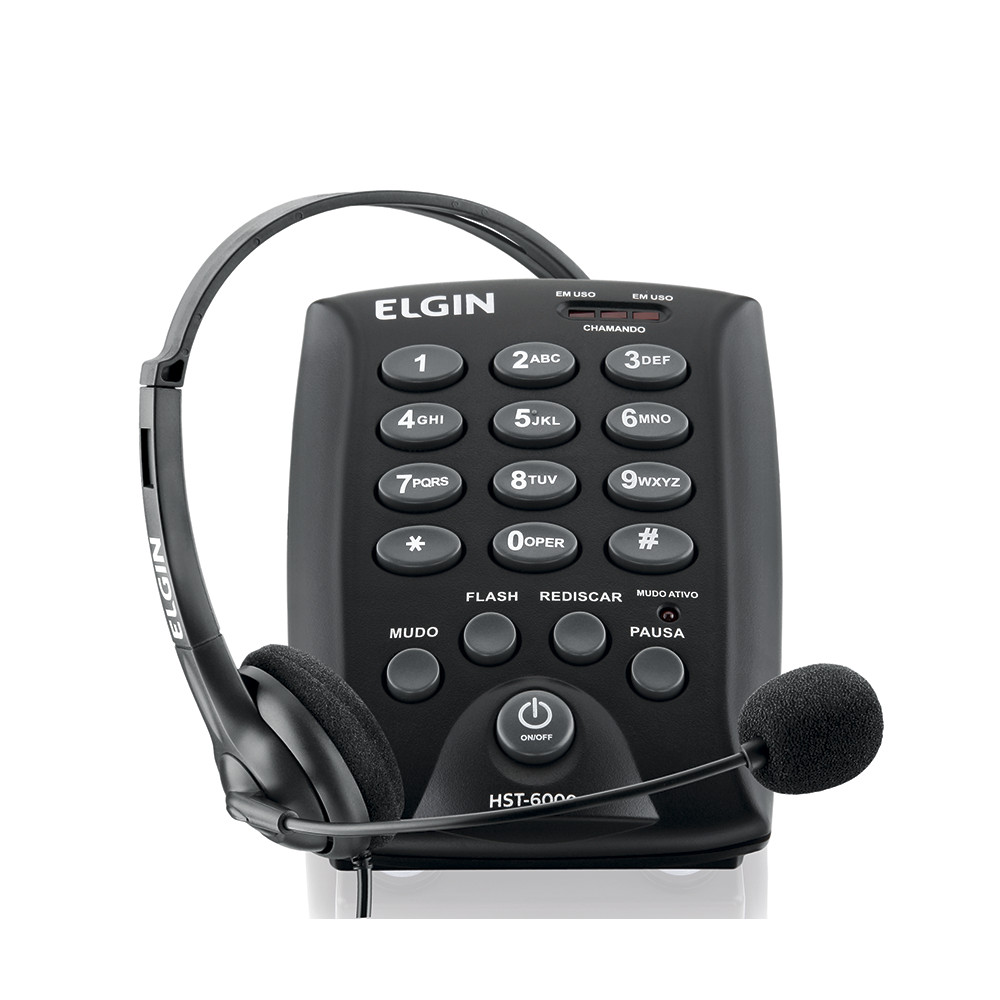 Telefone Headset Elgin HST 6000 c/ Teclado p/ Telefonista Call Center Telemarketing