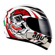 Capacete AGV K-3 Rider To The Bone Branco Vermelho Preto