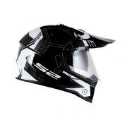 Capacete LS2 MX436 Pioneer Trigger Preto Branco Cinza com Viseira Solar