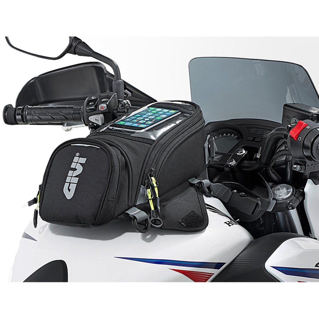 Bolsa Tanque 6 Litros Givi EA106B Encaixe Magnético Tela Touch 7 Polegadas + Capa Impermeável