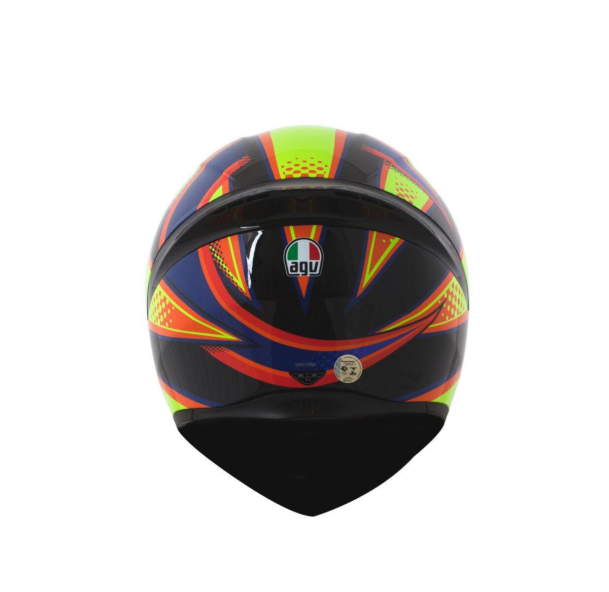 Capacete AGV K1 Soleluna 15 PretoAmarelo (Valentino Rossi)