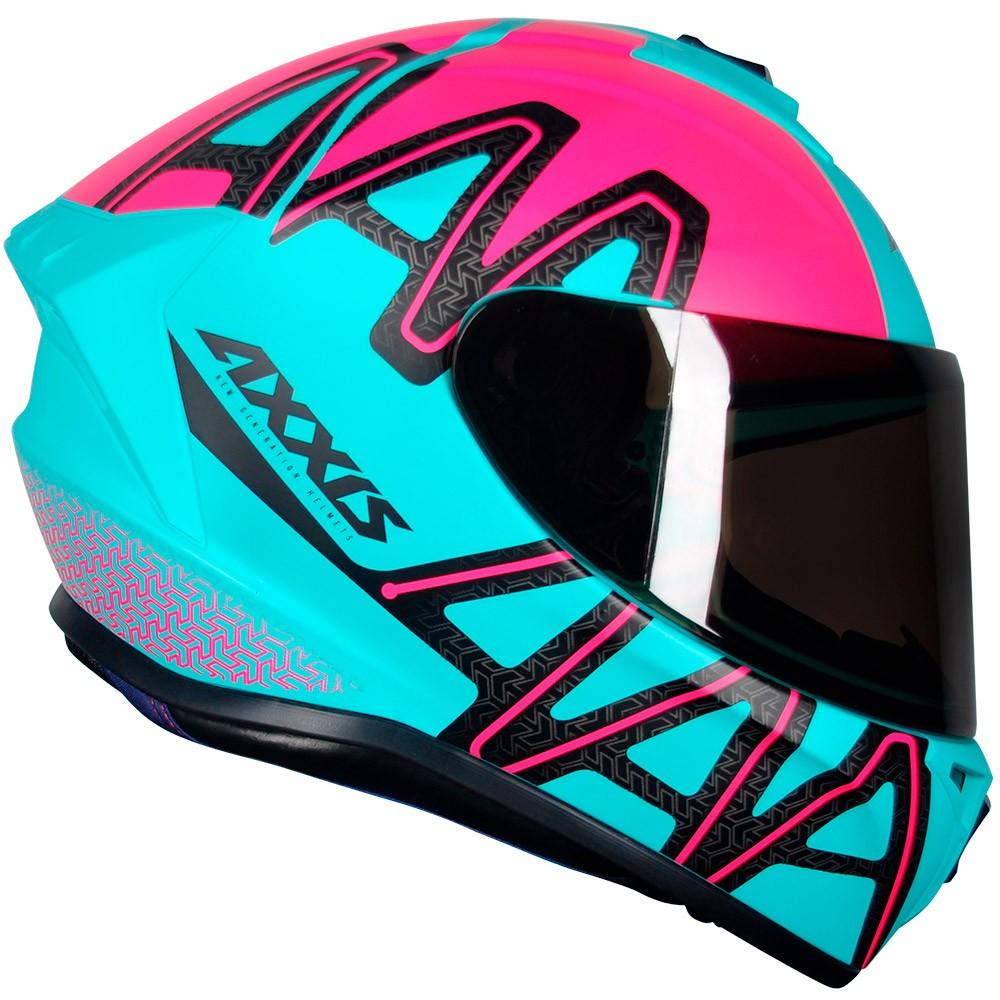 Capacete Axxis Draken Dekers Tiffany/Pink Fosco